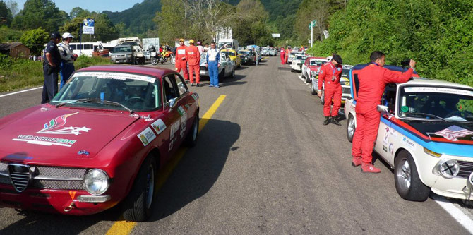 La Carrera Panamericana race cars queued up at start of the next leg of the race